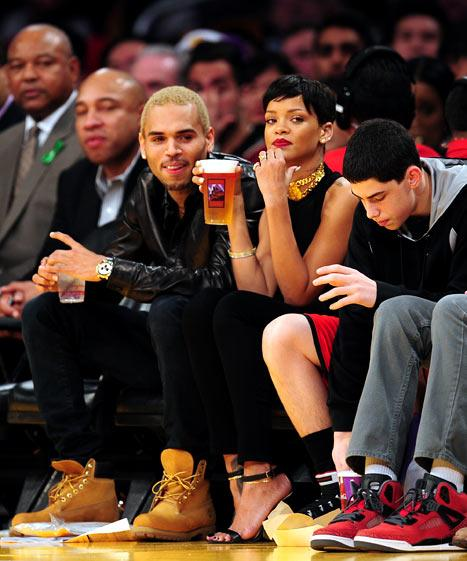 Rihanna, Chris Brown Spend Christmas Together at Lakers Game