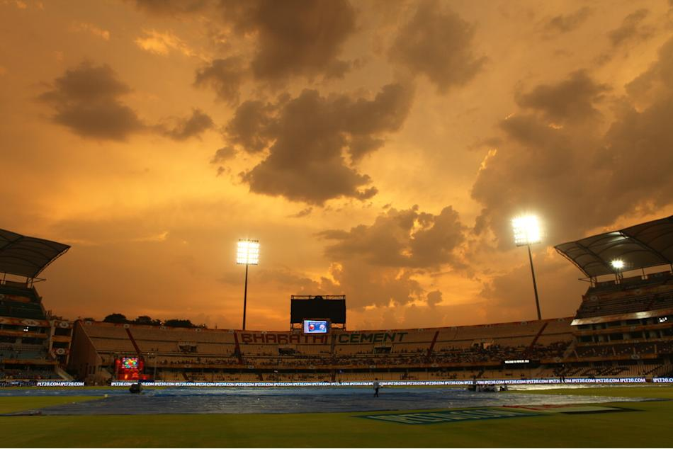 General view of the stadium at sunset during match 54 of the Pepsi Indian Premier League between The Sunrisers Hyderabad and Chennai Super Kings held at the Rajiv Gandhi International Stadium, Hyderab
