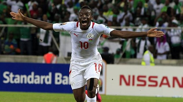 Burkina Faso's Alain Traore celebrates his goal during their African Nations Cup (AFCON 2013) Group C soccer match against Nigeria in Nelspruit, January 21, 2013 (Reuters)