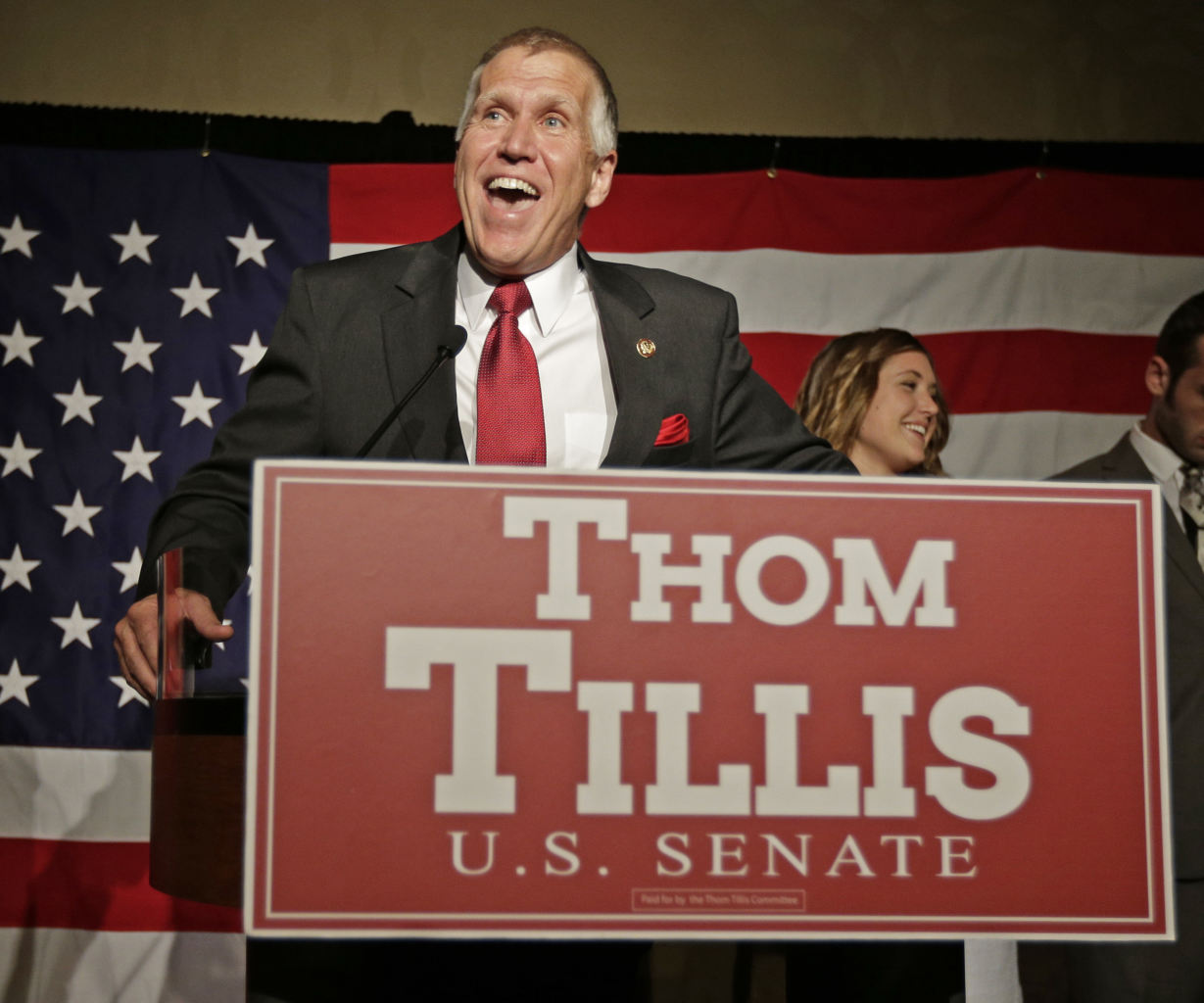 this May 6, 2014, photo Thom Tillis speaks to supporters at a election ...