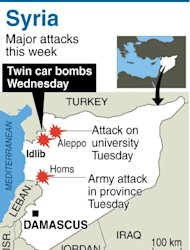 "Graphic showing the latest attacks across Syria. More than 100 civilians have been killed in a new ""massacre"" in Syria, a watchdog said Thursday, as Russia slammed the United States for blaming deadly blasts at a university campus on the Damascus regime"