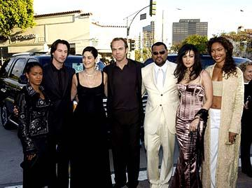 Premiere: Jada Pinkett Smith, Keanu Reeves, Carrie Anne Moss Hugo Weaving, Laurence Fishburne, Monica Bellucci and Gina Torres get their pose on at the Hollywood premiere of Warner Brothers' The Matrix: Reloaded - 5/7/2003