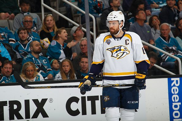 SAN JOSE, CA - MAY 1: Shea Weber #6 of the Nashville Predators looks on during the game against the San Jose Sharks in Game Two of the Western Conference Semifinals during the 2016 NHL Stanley Cup Playoffs at SAP Center on May 1, 2016 in San Jose, California. (Photo by Rocky W. Widner/NHL/Getty Images) *** Local Caption *** Shea Weber