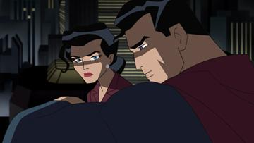 Superman (voiced by Kyle MacLachlan ) and Lois Lane (voiced by Kyra Sedgwick ) in Warner Premiere's Justice League: The New Frontier