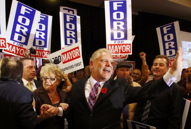 Doug Ford waves to supporters after failing to be elected as mayor in Toronto. (Reuters)
