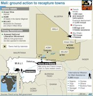 Map of Mali with reported recapture of Konna and Diabaly. France has already put nearly two-thirds of the 2,500 troops it has pledged on the ground in Mali