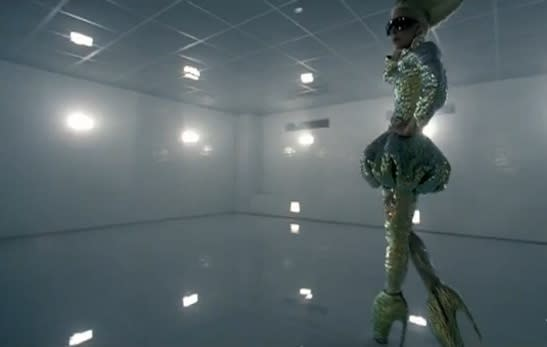 "Fashion trendsetter Lady Gaga manages to walk a few steps in the Alexander McQueen heels during her ""Bad Romance"" video."