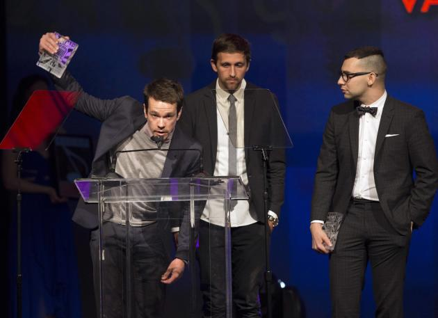Members of indie pop band Fun accept the Vanguard Award at the 31st annual ASCAP Pop Music Awards in Hollywood
