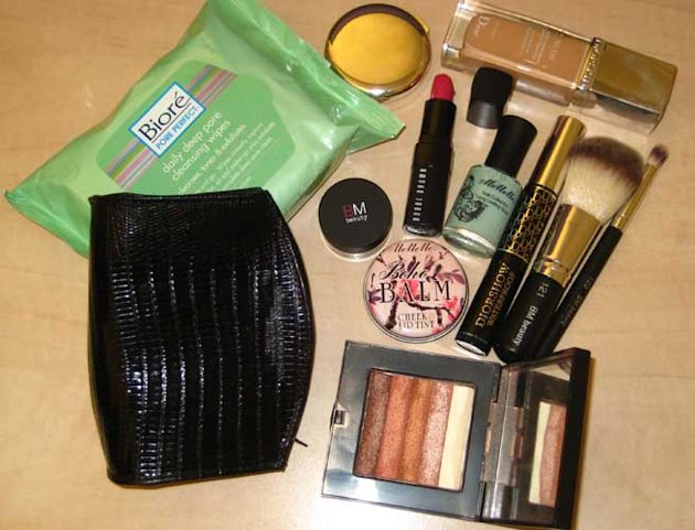 90210's Jessica Lowndes Shows Us Her Make-up Bag: Bobbi Brown Shimmer Brick and MeMeME Boho Balms