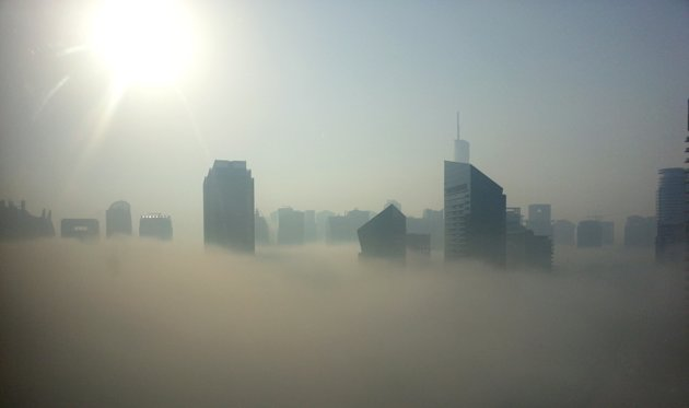 Fog covers the skyline of Dubai's Marina district. Photo: Shaima Ghafoor
