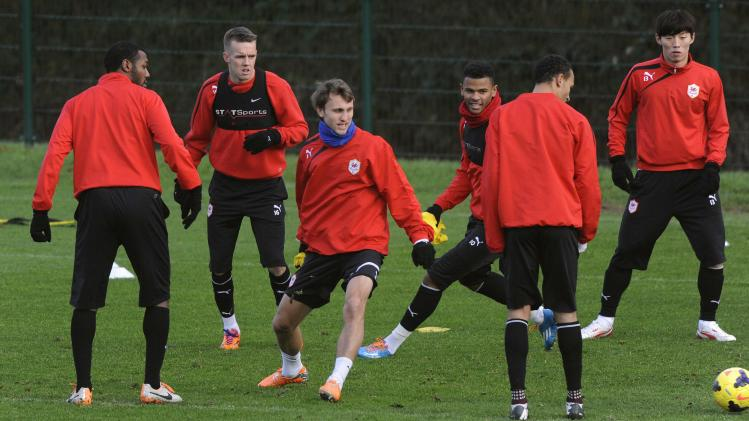 Cardiff City's new signing Eikrem attends a training session at the Vale hotel in Hensol, Vale of Glamorgan