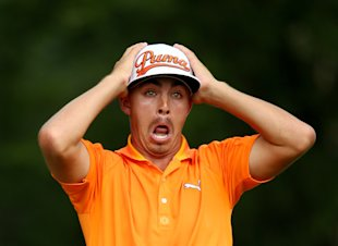 Rickie Fowler of the United States reacts on the fifth tee during the final round of the 96th PGA Championship. (Getty)