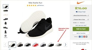 What Nike.com (and Others) Can Teach You About Building Persuasive Product Pages image zappos alternative color options 1 e1408128227260 600x328