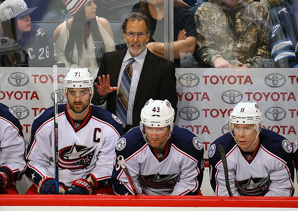 WINNIPEG, MB - DECEMBER 29: Head Coach John Tortorella of the Columbus Blue Jackets looks on from the bench during third period action against the Winnipeg Jets at the MTS Centre on December 29, 2016 in Winnipeg, Manitoba, Canada. (Photo by Jonathan Kozub/NHLI via Getty Images)