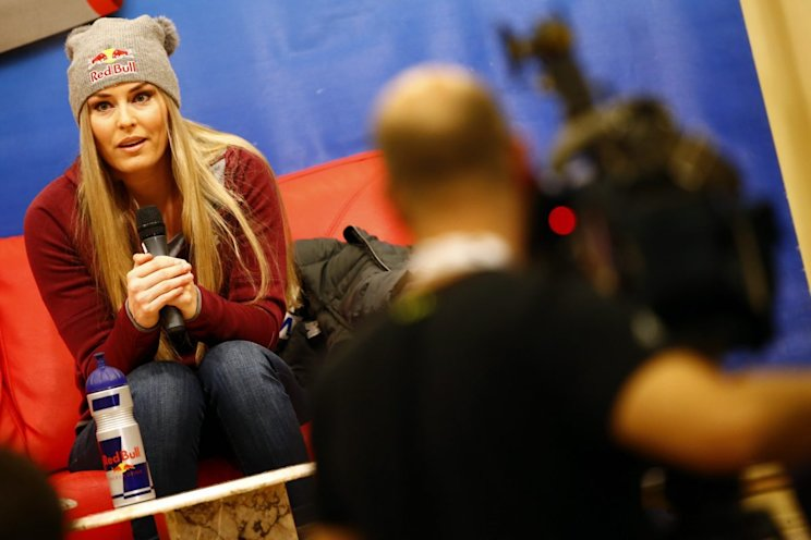 ALTENMARKT/ZAUCHENSEE, AUSTRIA - JANUARY 12: Lindsey Vonn of USA at a press conference during the Audi FIS Alpine Ski World Cup Women's Downhill Training on January 12, 2017 in Altenmarkt/Zauchensee, Austria (Photo by Christophe Pallot/Agence Zoom/Getty Images)