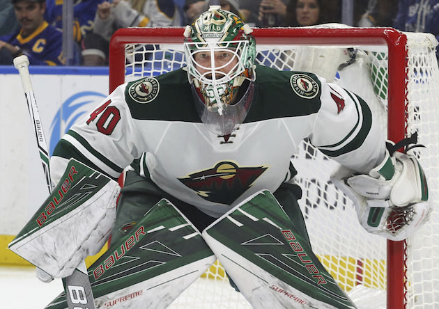 Minnesota Wild goalie Devan Dubnyk (40) during the third period of a NHL hockey game against the Buffalo Sabres, Thursday, Oct. 27, 2016, in Buffalo, New York. (AP Photo/Jeffrey T. Barnes)