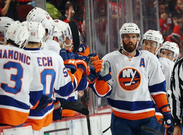 NEWARK, NJ - OCTOBER 05: Andrew Ladd #16 of the New York Islanders celebrates his powerplay goal at 11:26 of the second period against the New Jersey Devils at the Prudential Center on October 5, 2016 in Newark, New Jersey. (Photo by Bruce Bennett/Getty Images)