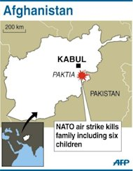 Map of Afghanistan locating an attack in eastern Paktia province. A NATO air strike killed a family of eight, including six children, when it hit their home in eastern Afghanistan, local officials said on Sunday