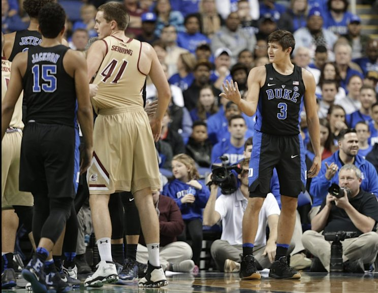 Duke's Grayson Allen reacts after being called for a foul from tripping an Elon player. (AP)