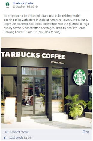 Social Media Strategy Review: Restaurants and Cafes image Starbcks new store opening update