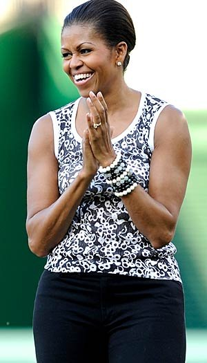 Michelle Obama focuses on cross training. G Fiume/Getty Images