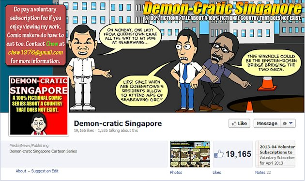 "Cartoonist Leslie Chew has been arrested for two cartoon posts under his ""Demon-cratic Singapore"" series. (Facebook screengrab) ."