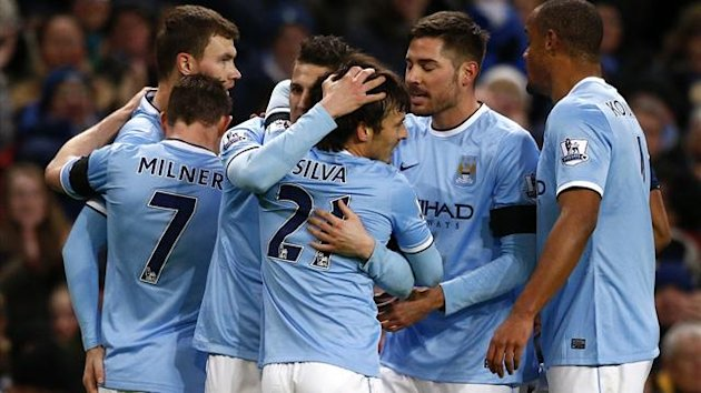 Manchester City's Stevan Jovetic (C) celebrates with team mates after scoring a goal against Chelsea during their English FA Cup fifth round match (Reuters)