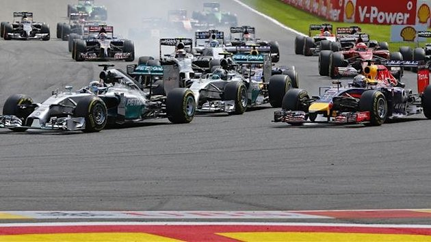 Mercedes Formula One driver Lewis Hamilton of Britain (L) leads the race ahead of teammate Nico Rosberg of Germany (Reuters)