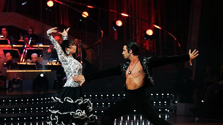 "Gilles Marini and Cheryl Burke perform the Paso Doble to ""Habanera"" by Charlotte Church on ""Dancing with the Stars."""