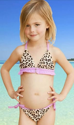 One of the designs for Elizabeth Hurley's bikini line for girls under 8. (Screen grab elizabethhurley.com)