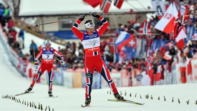 Norway's Marit Bjoergen celebrates (AFP)