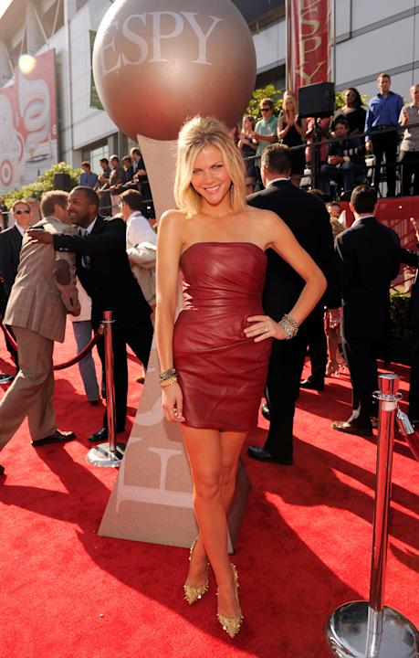 Brooklyn Decker in a red leather mini dress