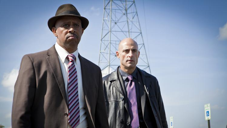 "This publicity image released by AMC shows, Ruben Santiago-Hudson as Lt. Charles Dawson, left, and Mark Strong as Frank Agnew from the series ""Low Winter Sun,"" premiering Aug. 11, 2013. (AP Photo/AMC, Alicia Gbur)"