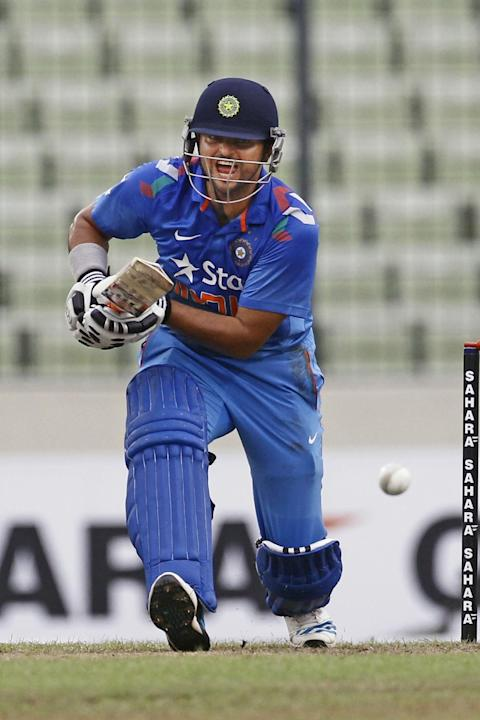 India's captain Suresh Raina plays a shot during the second one-day ...