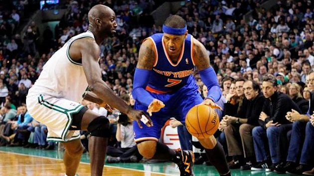 New York Knicks' Carmelo Anthony drives to the basket around Boston Celtics' Kevin Garnett (Reuters)
