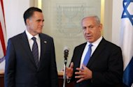 US Republican presidential candidate Mitt Romney and Israeli Prime Minister Benjamin Netanyahu brief the press before a meeting in Jerusalem in July 2012. Romney's electoral chances took another hit as secretly-shot video footage showed him dismissing Palestinians and saying there was no point in pursuing Middle East peace