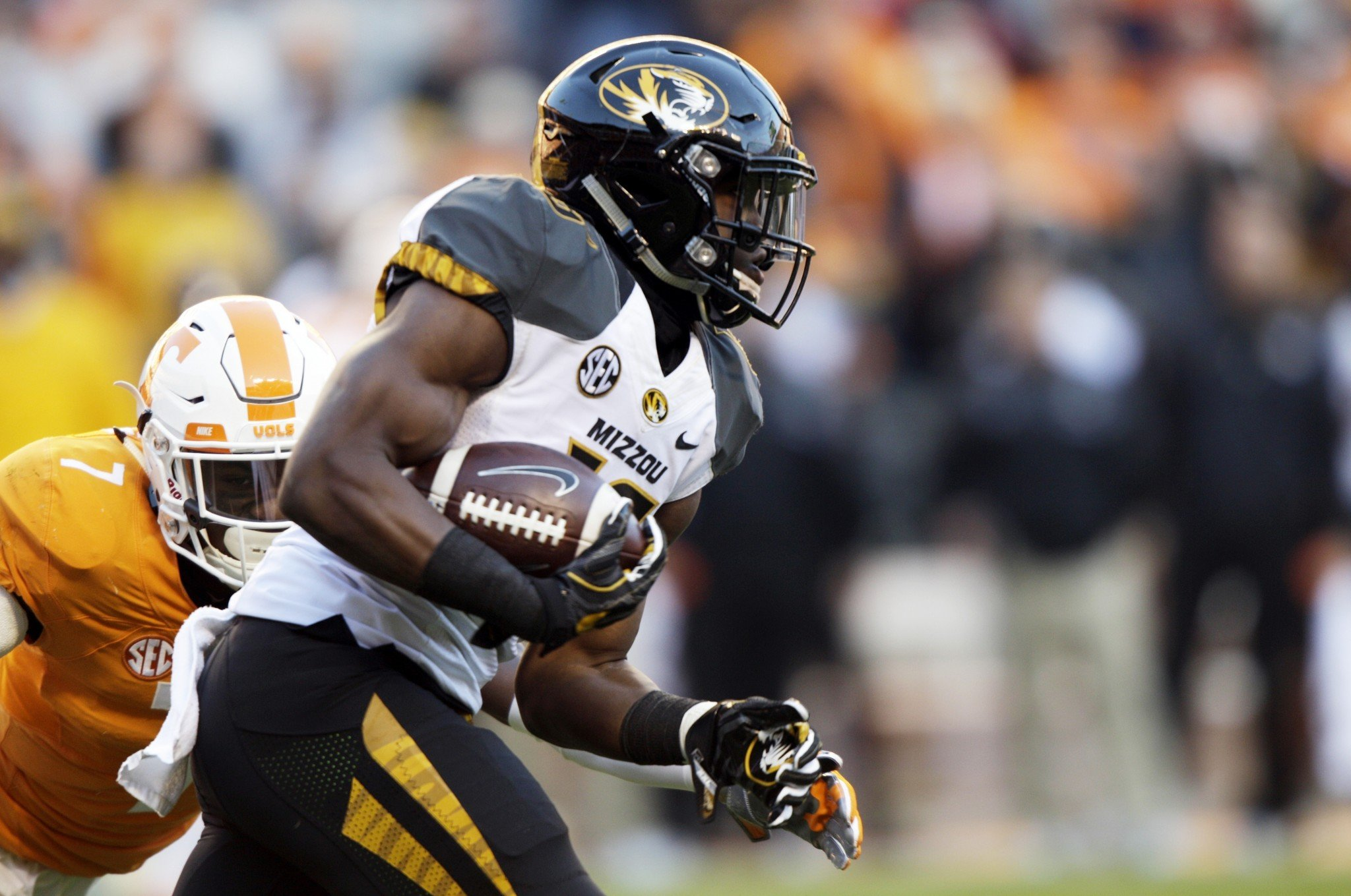 Missouri running back Damarea Crockett rushed for 225 yards against Tennessee. (AP Photo/Wade Payne)