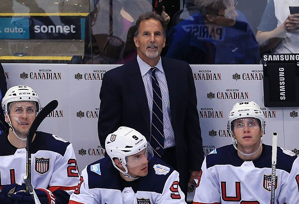 TORONTO, CANADA - SEPTEMBER 17: John Tortorella, Head Coach of Team USA looks up at the scoreboard during a World Cup of Hockey 2016 game against Team Europe at Air Canada Centre on September 17, 2016 in Toronto, Canada. (Photo by Vaughn Ridley/World Cup of Hockey via Getty Images)