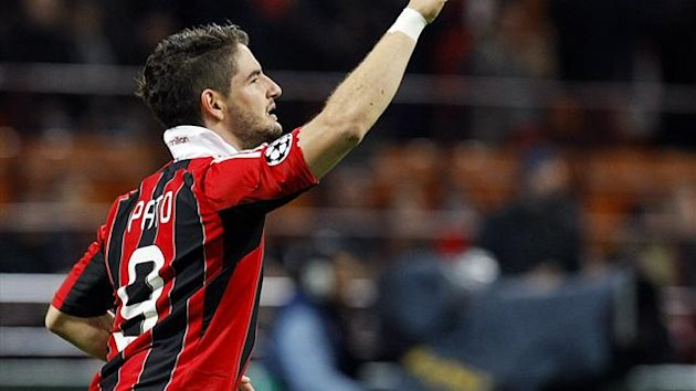 AC Milan's Alexandre Pato celebrates after scoring against Malaga during their Champions League Group C match