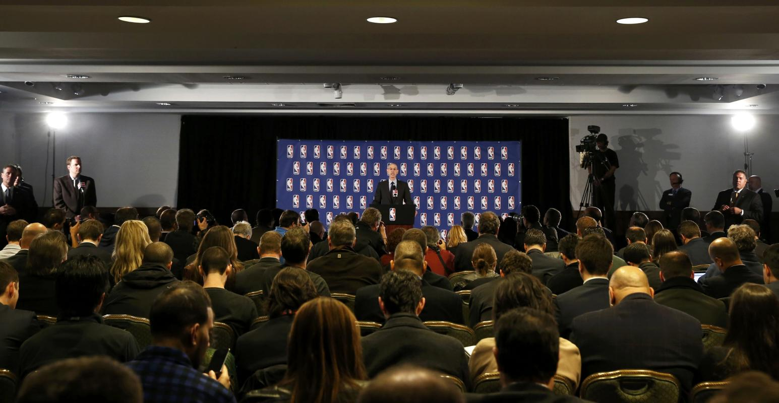 NBA Commissioner Adam Silver speaks at a news conference in New York