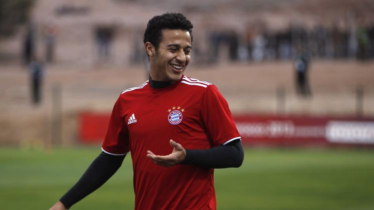 Bayern Munich's Thiago Alcantara smiles during a final training session ahead of their Club World Cup soccer match, in Agadir