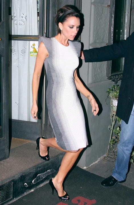 Celebrity fashion: Victoria Beckahm donned this optical illusion dress way back in 2009. What a trend setter.