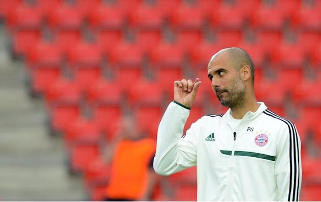 Bayern Munich's coach Pep Guardiola during a training session on August 29, 2013