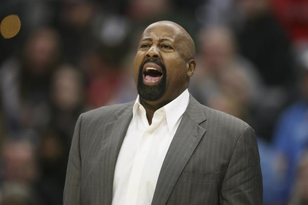 New York Knicks coach Mike Woodson yells at his team during an NBA game against the Denver Nuggets in Denver