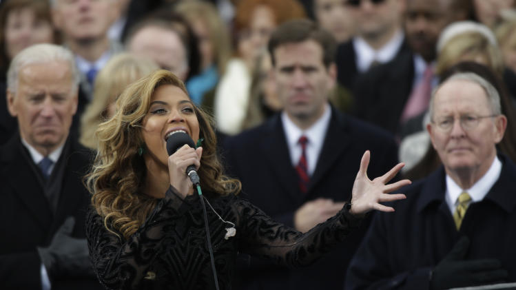 Beyonce sings the national anthem at the ceremonial swearing-in at the U.S. Capitol during the 57th Presidential Inauguration in Washington, Monday, Jan. 21, 2013. (AP Photo/Pablo Martinez Monsivais)