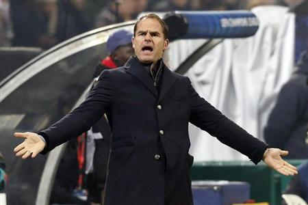 Ajax Amsterdam's coach De Boer reacts during their Champions League group H soccer match against AC Milan in Milan