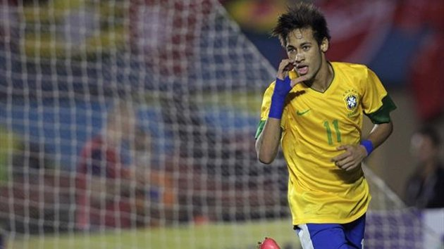 Brazil's Neymar celebrates after scoring a goal against Argentina in a friendly (Reuters)