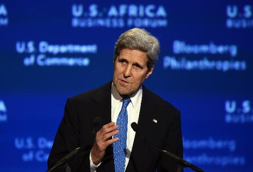 US Secretary of State John Kerry speaks during US-Africa Business Forum on the sideline of the US-Africa Leaders Summit in Washington, DC, on August 5, 2014. US heralded $14 billion worth of new investments in Africa Tuesday as Washington seeks to demonstrate it is ready to take a strong role in the continent's economic takeoff. AFP PHOTO/Jewel Samad