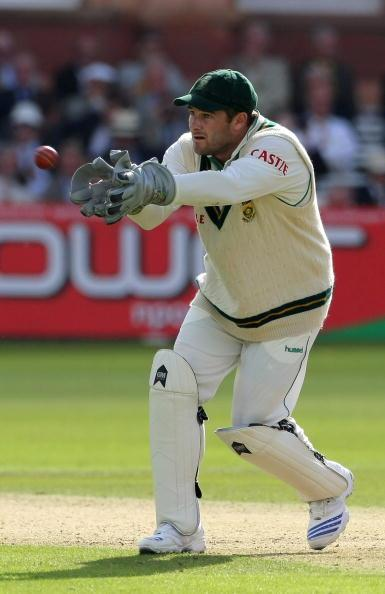 LONDON - JULY 10: South Africa's wicketkeeper Mark Boucher collects the ball during day one of the First Test match between England and South Africa at Lords on July 10, 2008 in London, England.  (Pho