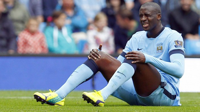 Yaya Toure looks agonised as Manchester City lose to Stoke (Reuters)